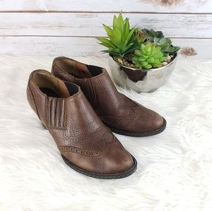 Born Leather Heeled Booties Size 9.5